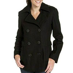 #125 Black Winter Pea Coat Medium Ladies